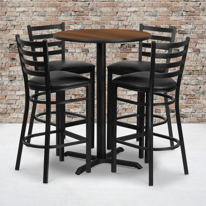30'' Round Walnut Laminate Restaurant Table Set with 4 Ladder Back Metal Barstools - Black Vinyl Seat