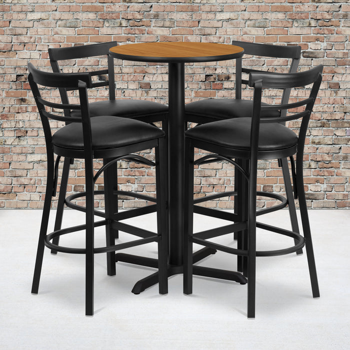 24'' Round Natural Laminate Restaurant Table Set with 4 Ladder Back Metal Barstools - Black Vinyl Seat