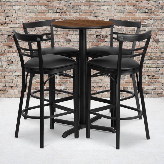 24'' Round Walnut Laminate Restaurant Table Set with 4 Ladder Back Metal Barstools - Black Vinyl Seat