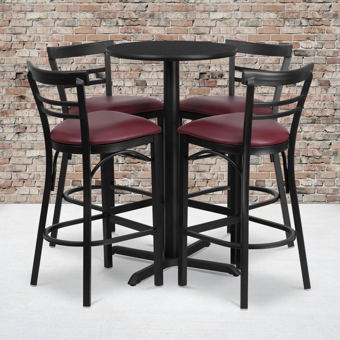 24'' Round Black Laminate Restaurant Table Set with 4 Ladder Back Metal Barstools - Burgundy Vinyl Seat
