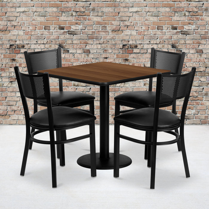 30'' Square Walnut Laminate Restaurant Table Set with 4 Grid Back Metal Chairs - Black Vinyl Seat
