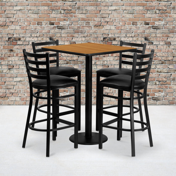 30'' Square Natural Laminate Restaurant Table Set with 4 Ladder Back Metal Barstools - Black Vinyl Seat