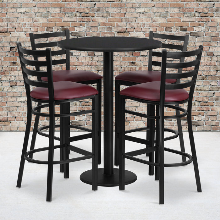 30'' Round Black Laminate Restaurant Table Set with Round Base and 4 Ladder Back Metal Barstools - Burgundy Vinyl Seat
