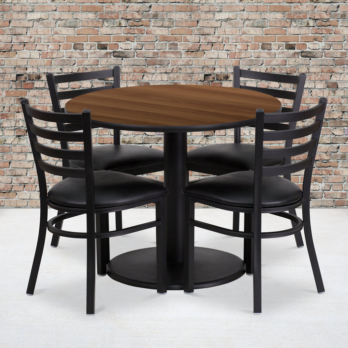36'' Round Walnut Laminate Restaurant Table Set with Round Base and 4 Ladder Back Metal Chairs - Black Vinyl Seat