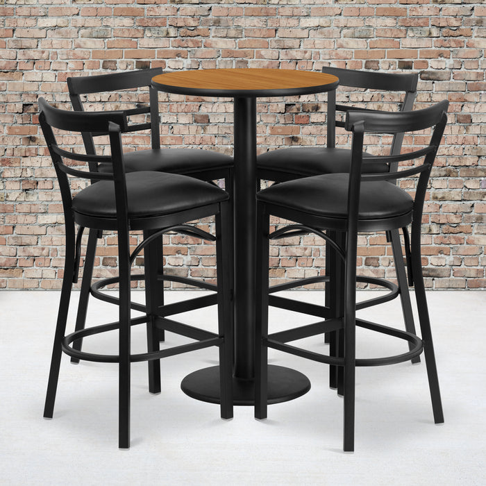 24'' Round Natural Laminate Restaurant Table Set with Round Base and 4 Two-Slat Ladder Back Metal Barstools - Black Vinyl Seat