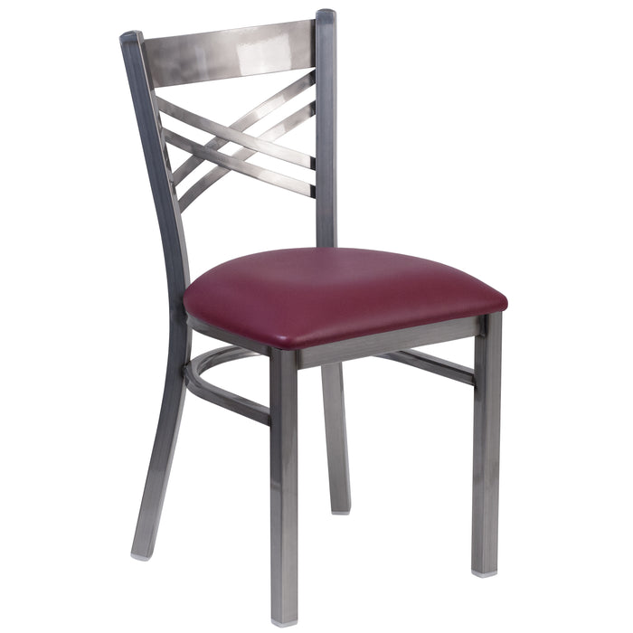 "19.5"" HERCULES Series Clear Coated ''X'' Back Metal Restaurant Chair - Burgundy Vinyl Seat"