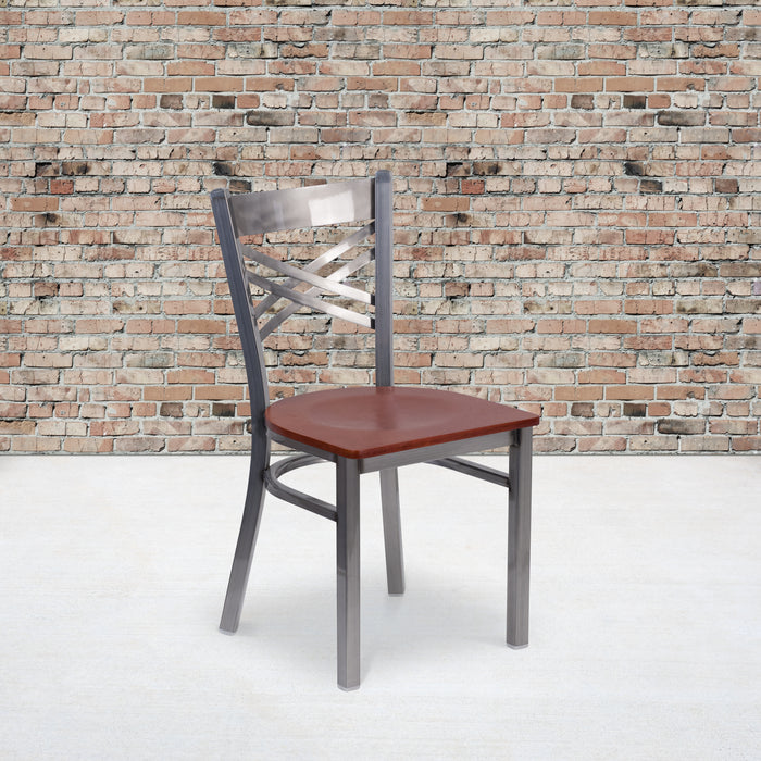 "17.25"" HERCULES Series Clear Coated ''X'' Back Metal Restaurant Chair - Cherry Wood Seat"