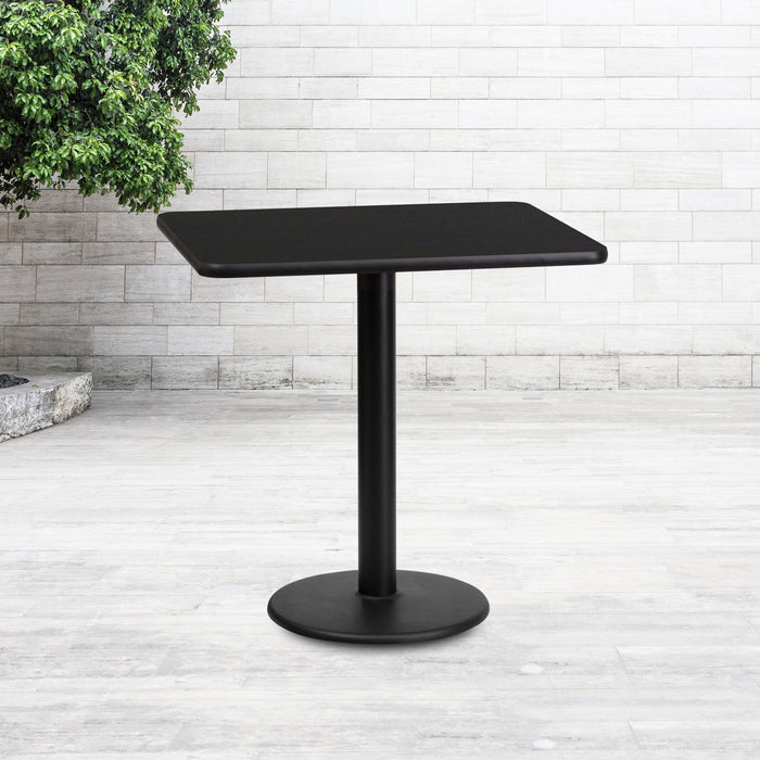24'' x 30'' Rectangular Black Laminate Restaurant Table Top with 18'' Round Table Height Base