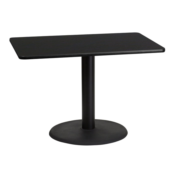 30'' x 42'' Rectangular Black Laminate Restaurant Table Top with 24'' Round Table Height Base