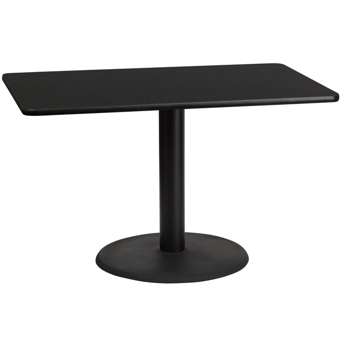 30'' x 48'' Rectangular Black Laminate Restaurant Table Top with 24'' Round Table Height Base