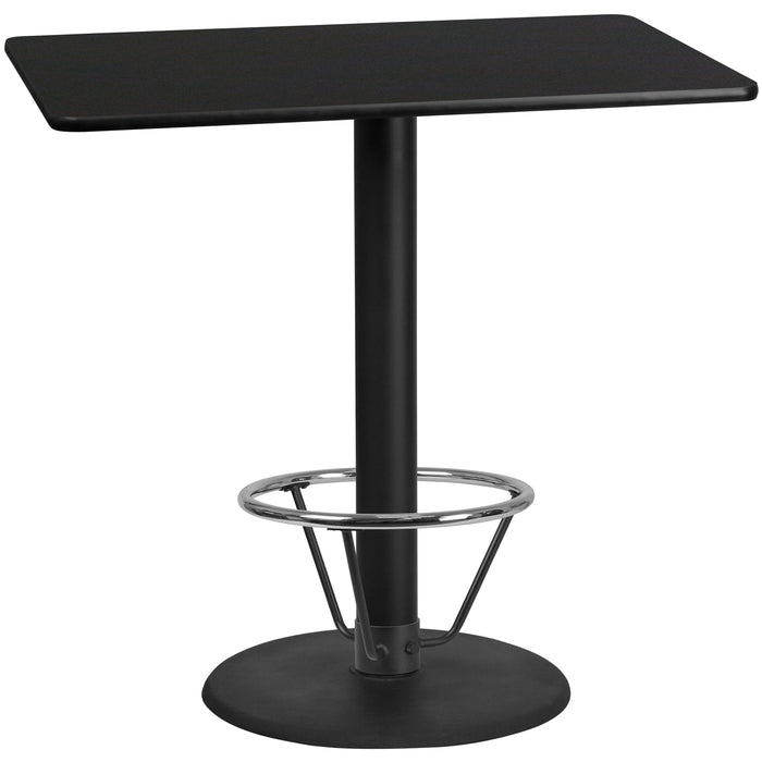 30'' x 48'' Rectangular Black Laminate Table Top with 24'' Round Bar Height Table Base and Foot Ring