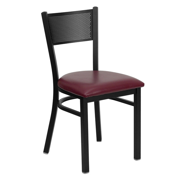 "19.75"" HERCULES Series Black Grid Back Metal Restaurant Chair - Burgundy Vinyl Seat"