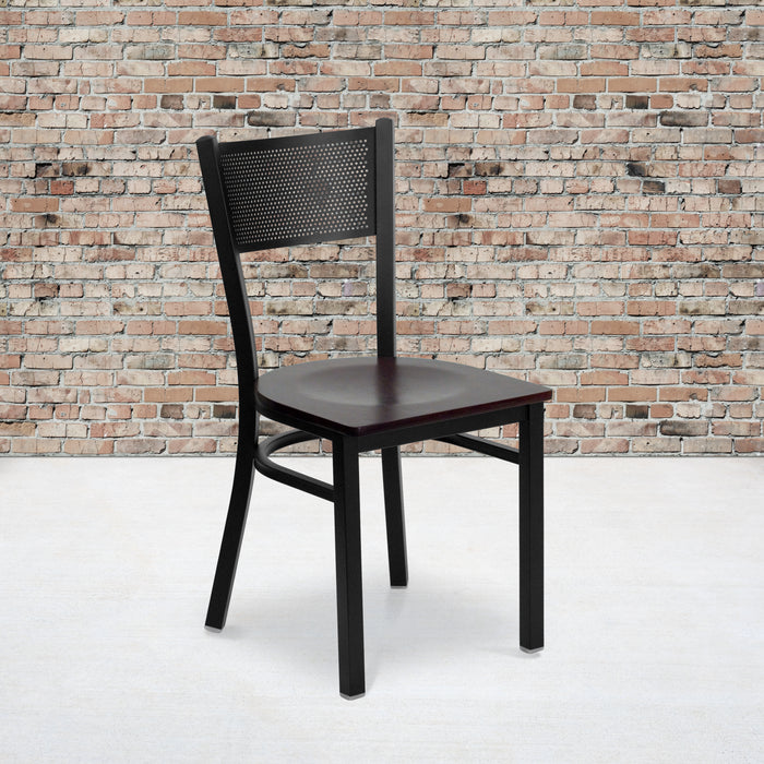 "18"" HERCULES Series Black Grid Back Metal Restaurant Chair - Mahogany Wood Seat"