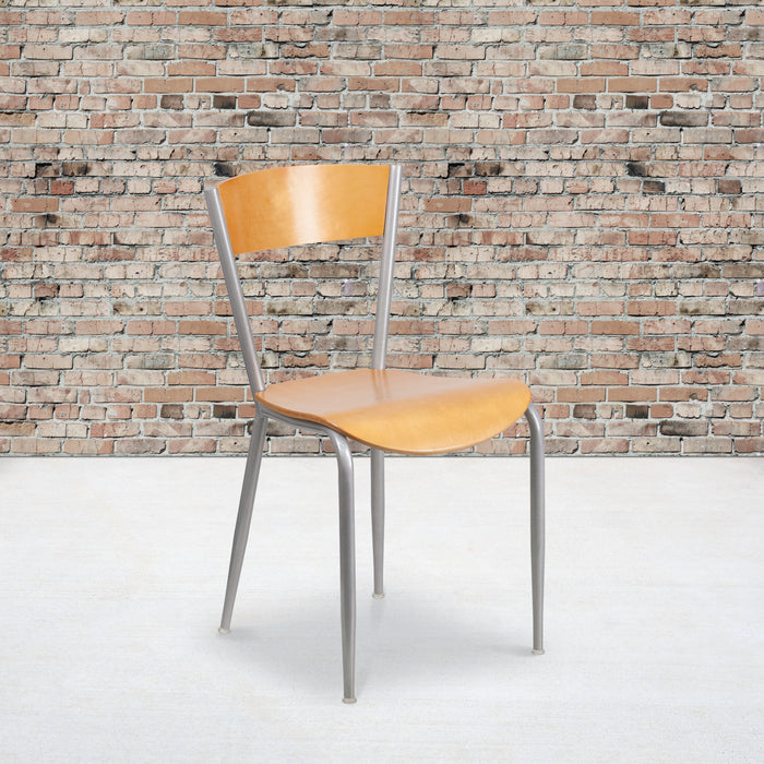 "19.5"" INVINCIBLE Series Silver Metal Restaurant Chair - Natural Wood Back & Seat"