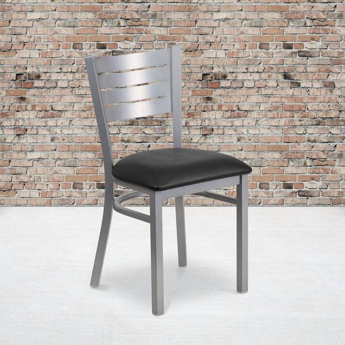 "20"" HERCULES Series Silver Slat Back Metal Restaurant Chair - Black Vinyl Seat"