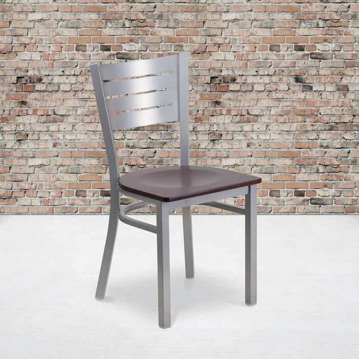 "18.25"" HERCULES Series Silver Slat Back Metal Restaurant Chair - Mahogany Wood Seat"