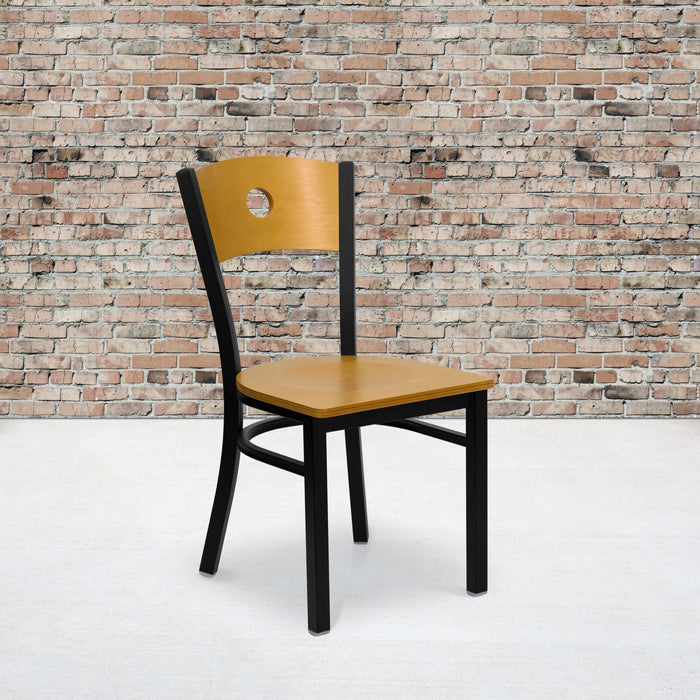 "17.25"" HERCULES Series Black Circle Back Metal Restaurant Chair - Natural Wood Back & Seat"
