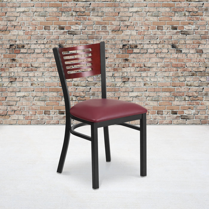 "19.5"" HERCULES Series Black Slat Back Metal Restaurant Chair - Mahogany Wood Back, Burgundy Vinyl Seat"
