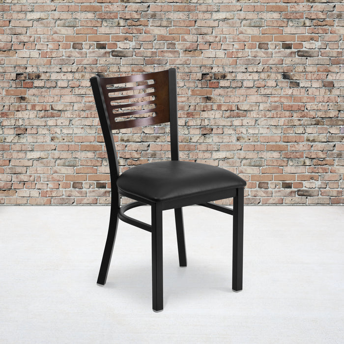 "19.5"" HERCULES Series Black Slat Back Metal Restaurant Chair - Walnut Wood Back, Black Vinyl Seat"