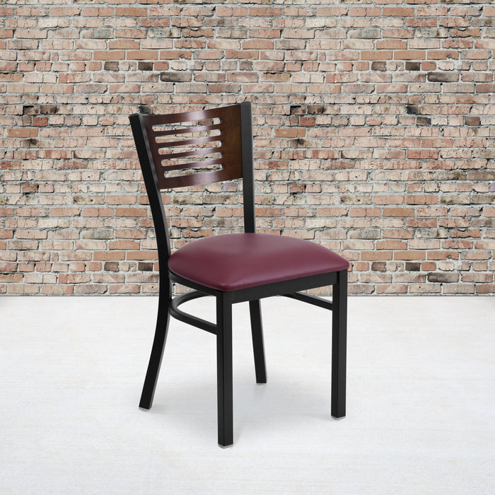 "19.5"" HERCULES Series Black Slat Back Metal Restaurant Chair - Walnut Wood Back, Burgundy Vinyl Seat"