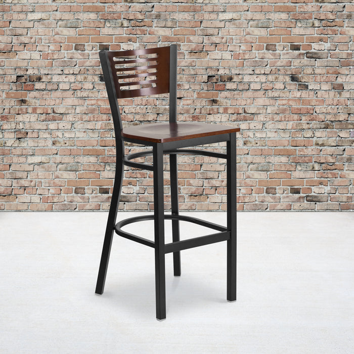 "29.75"" HERCULES Series Black Slat Back Metal Restaurant Barstool - Walnut Wood Back & Seat"