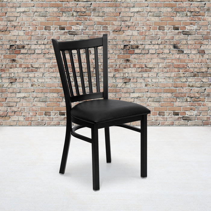 "18.5"" HERCULES Series Black Vertical Back Metal Restaurant Chair - Black Vinyl Seat"