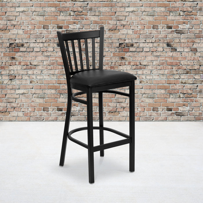 "30.25"" HERCULES Series Black Vertical Back Metal Restaurant Barstool - Black Vinyl Seat"