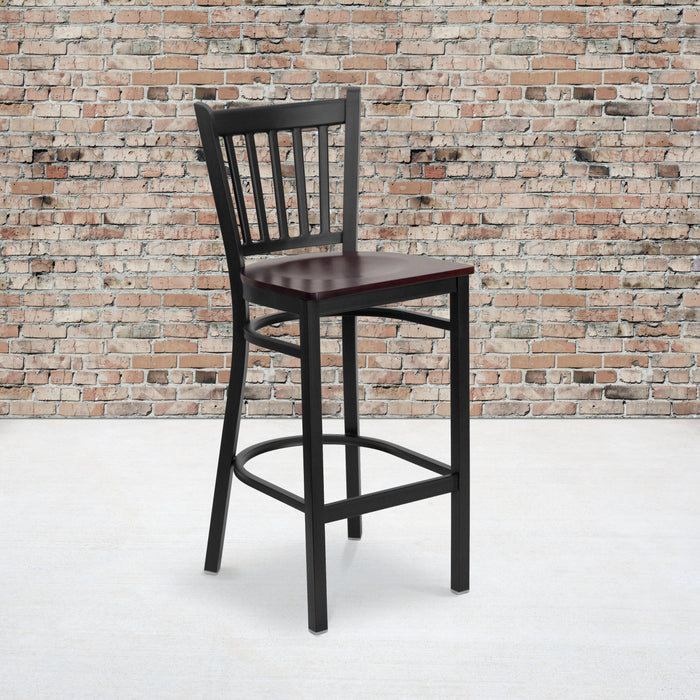 "28.75"" HERCULES Series Black Vertical Back Metal Restaurant Barstool - Mahogany Wood Seat"