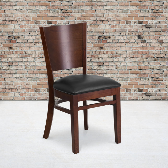 "20"" LACEY Series Solid Back Walnut Wood Restaurant Chair - Black Vinyl Seat"