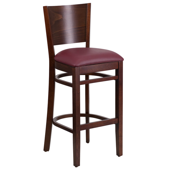 "31.5"" LACEY Series Solid Back Walnut Wood Restaurant Barstool - Burgundy Vinyl Seat"
