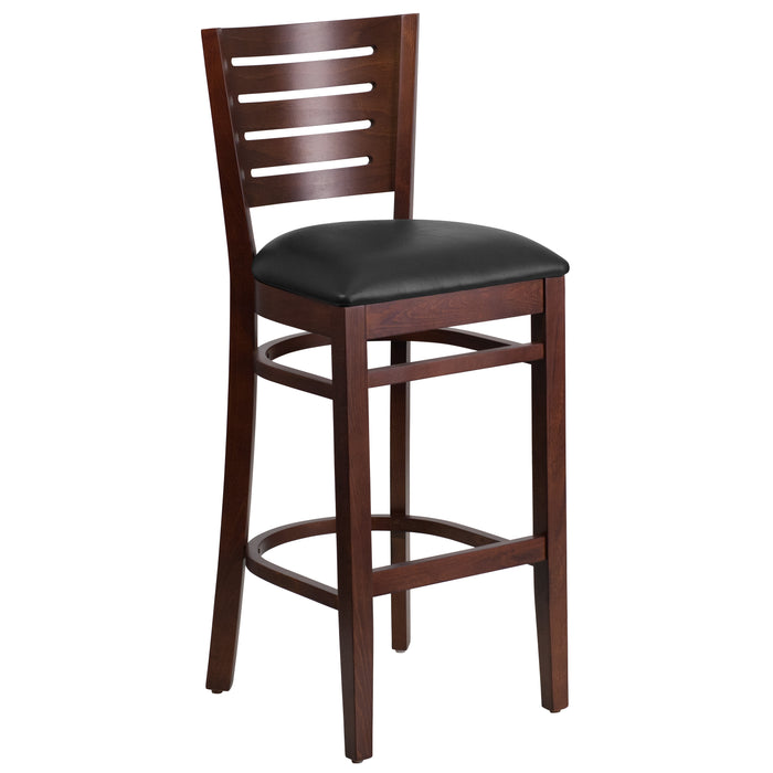 "31.5"" DARBY Series Slat Back Walnut Wood Restaurant Barstool - Black Vinyl Seat"