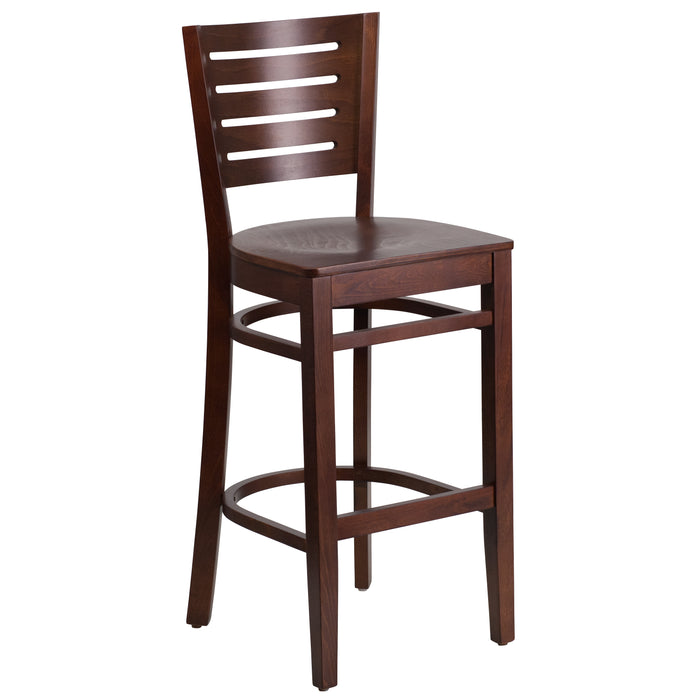 "29.25"" DARBY Series Slat Back Walnut Wood Restaurant Barstool"