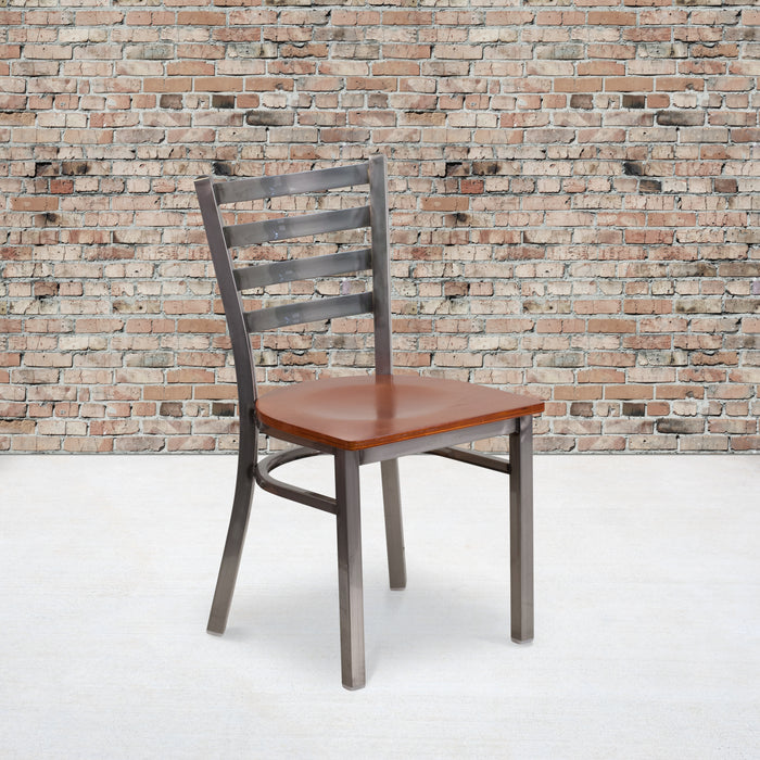 "17.25"" HERCULES Series Clear Coated Ladder Back Metal Restaurant Chair - Cherry Wood Seat"