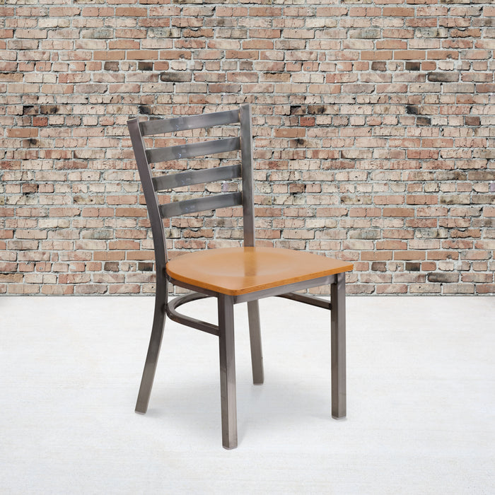 "17.25"" HERCULES Series Clear Coated Ladder Back Metal Restaurant Chair - Natural Wood Seat"