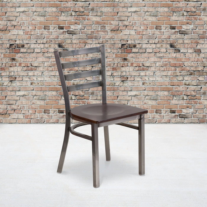 "17.25"" HERCULES Series Clear Coated Ladder Back Metal Restaurant Chair - Walnut Wood Seat"