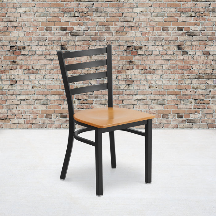 "17.25"" HERCULES Series Black Ladder Back Metal Restaurant Chair - Natural Wood Seat"
