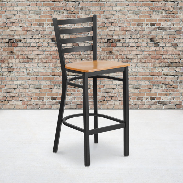 "28.75"" HERCULES Series Black Ladder Back Metal Restaurant Barstool - Natural Wood Seat"