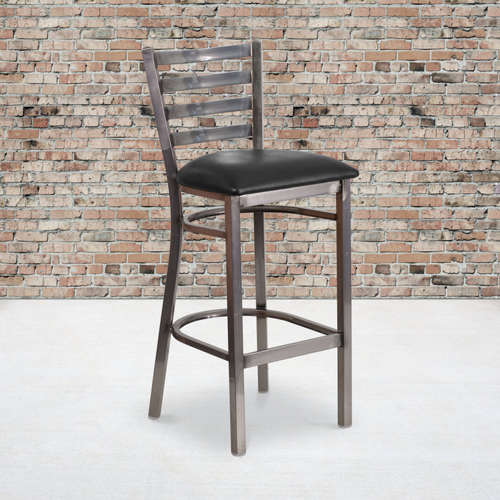 "30"" HERCULES Series Clear Coated Ladder Back Metal Restaurant Barstool - Black Vinyl Seat"