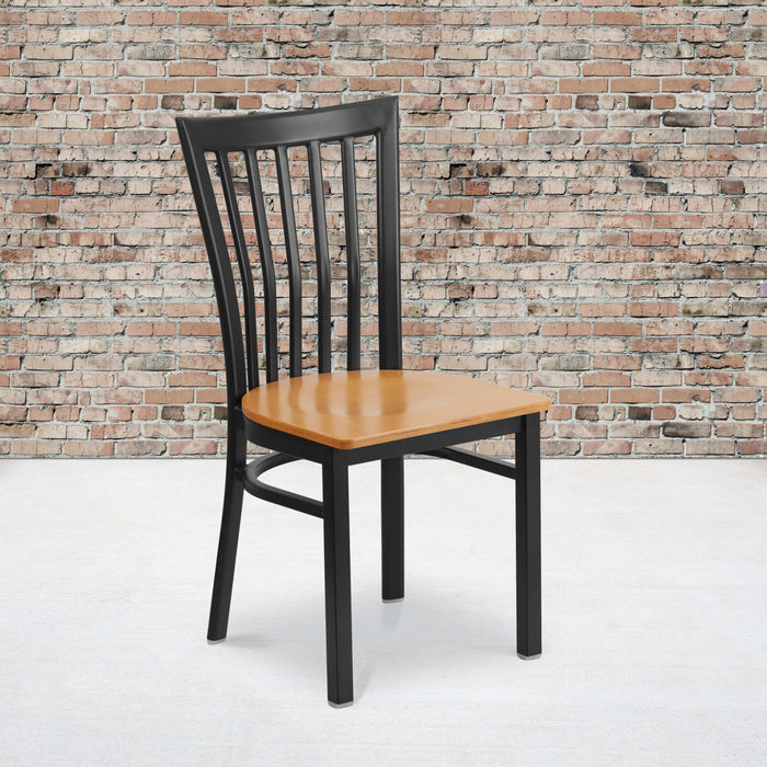 "17.25"" HERCULES Series Black School House Back Metal Restaurant Chair - Natural Wood Seat"