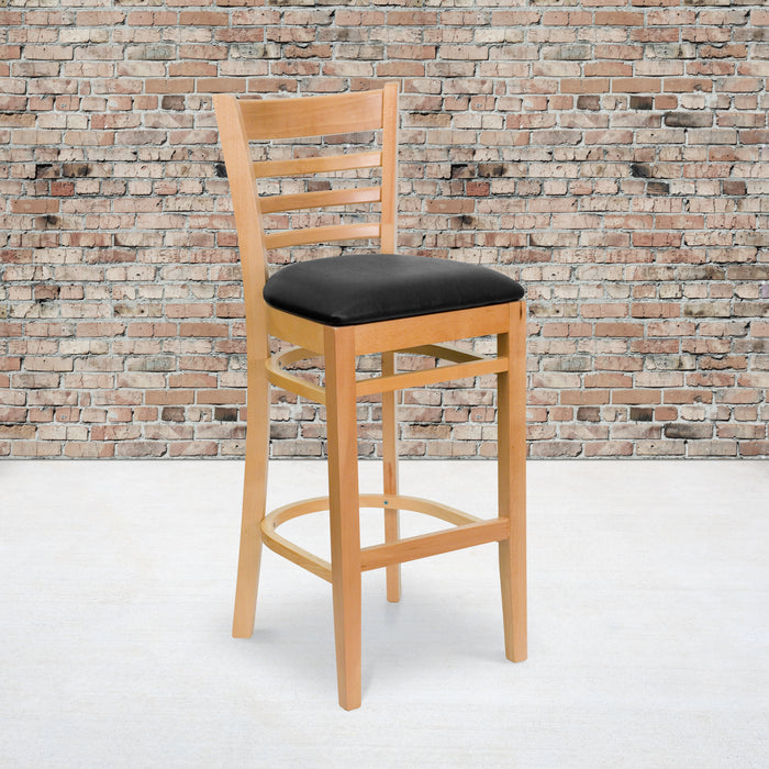 "31"" HERCULES Series Ladder Back Natural Wood Restaurant Barstool - Black Vinyl Seat"