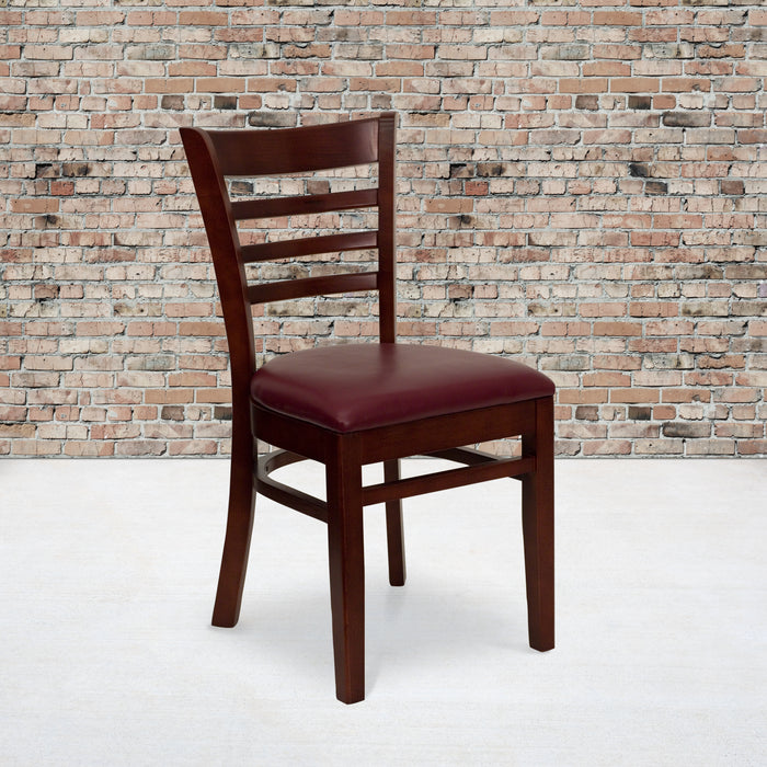 "19.5"" HERCULES Series Ladder Back Mahogany Wood Restaurant Chair - Burgundy Vinyl Seat"