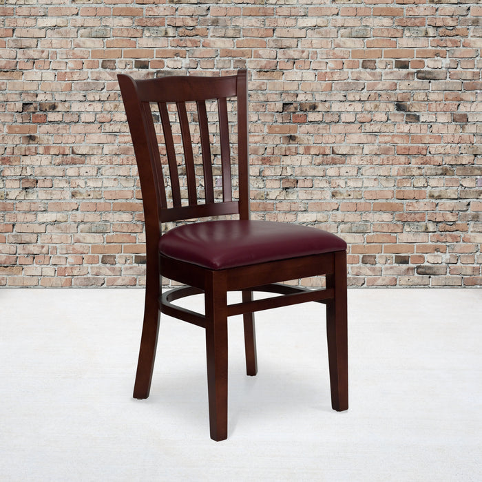 "19.25"" HERCULES Series Vertical Slat Back Mahogany Wood Restaurant Chair - Burgundy Vinyl Seat"