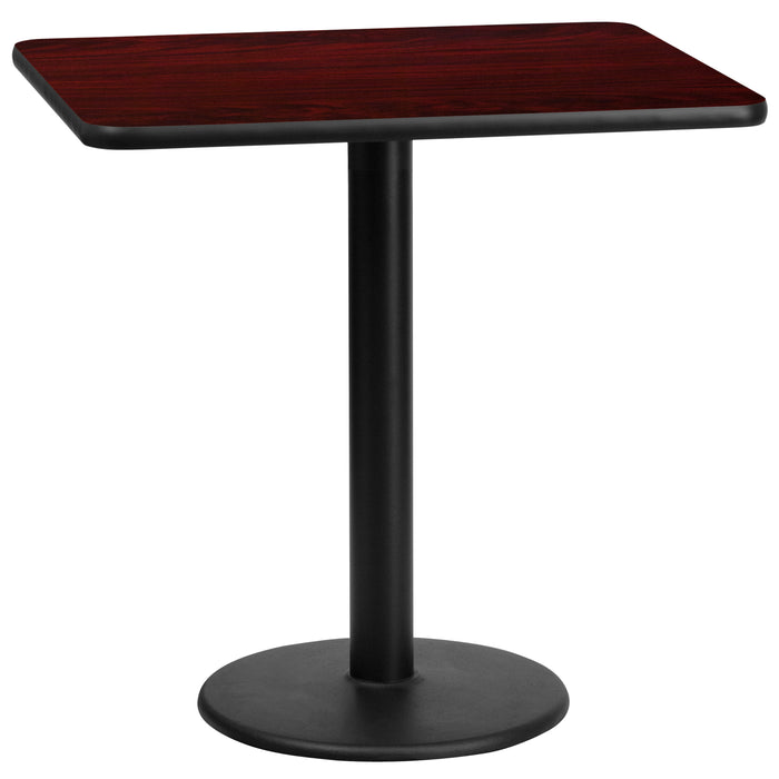24'' x 30'' Rectangular Mahogany Laminate Restaurant Table Top with 18'' Round Table Height Base