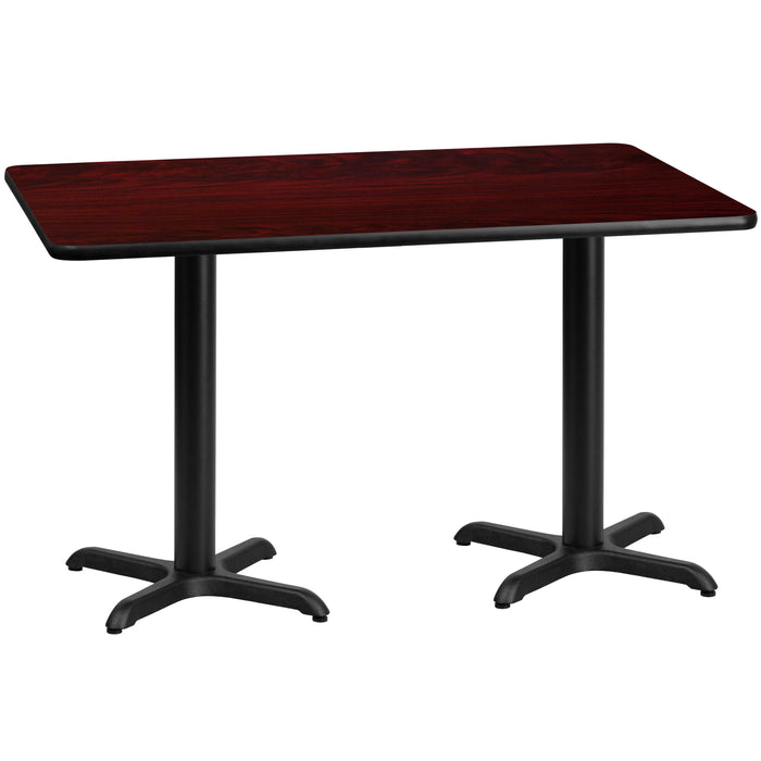 30'' x 60'' Rectangular Mahogany Laminate Restaurant Table Top with 22'' x 22'' Table Height Bases