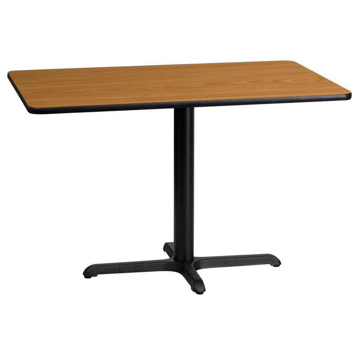 24'' x 42'' Rectangular Natural Laminate Restaurant Table Top with 22'' x 30'' Table Height Base