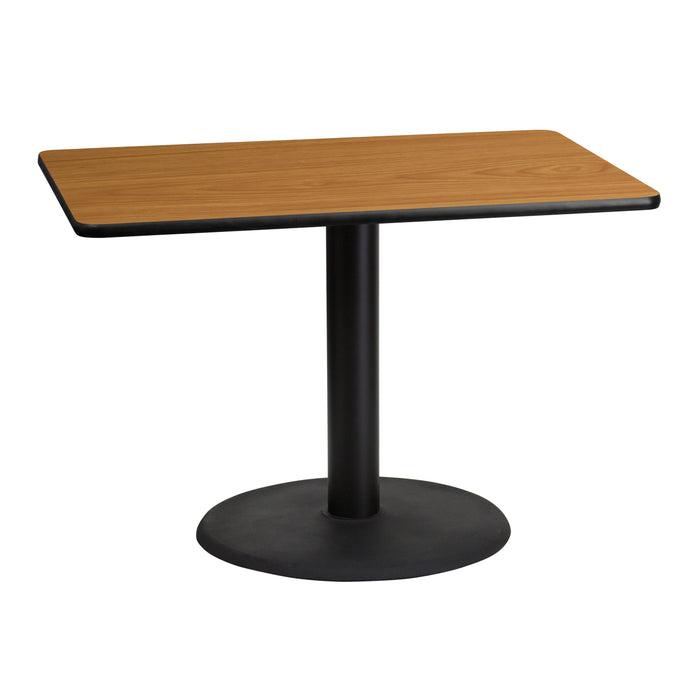 30'' x 42'' Rectangular Natural Laminate Restaurant Table Top with 24'' Round Table Height Base