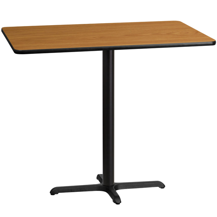 30'' x 48'' Rectangular Natural Laminate Table Top with 22'' x 30'' Bar Height Table Base