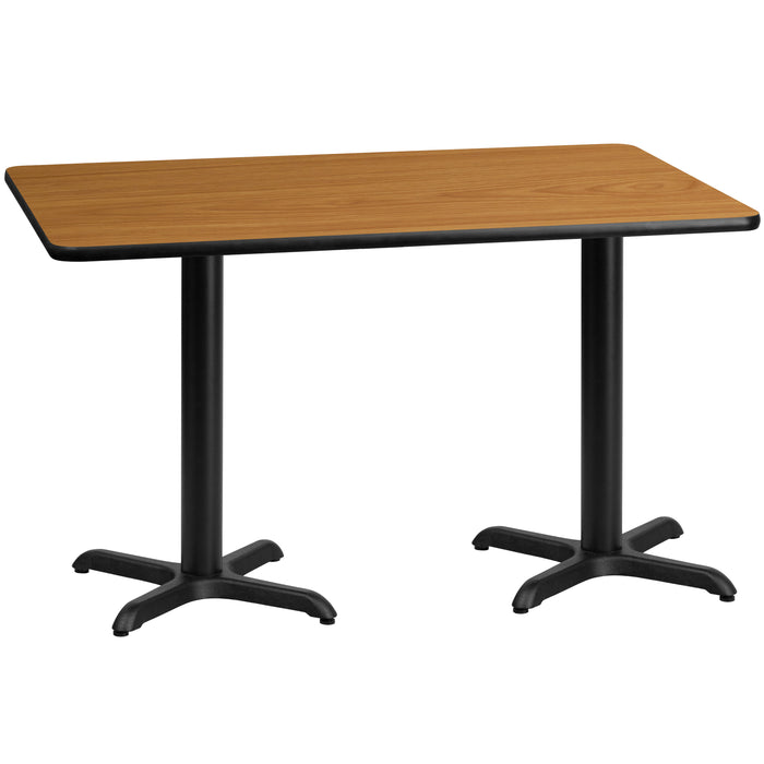 30'' x 60'' Rectangular Natural Laminate Restaurant Table Top with 22'' x 22'' Table Height Bases