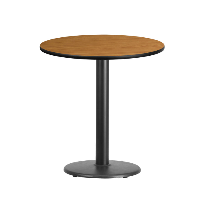 24'' Round Natural Laminate Restaurant Table Top with 18'' Round Table Height Base