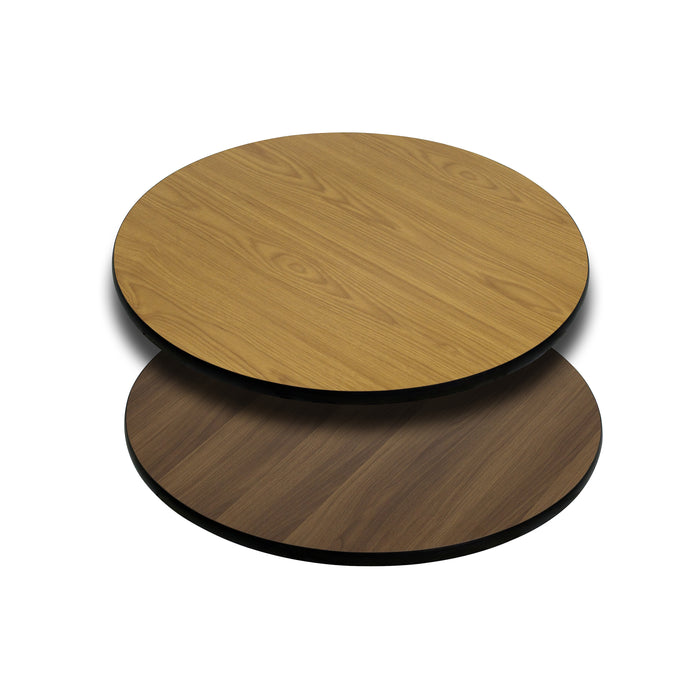 24'' Round Restaurant Table Top with Natural or Walnut Reversible Laminate Top